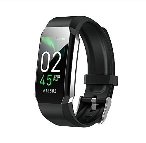 jiuyao Reloj inteligente Actividad Fitness Tracker, IPX67 impermeable Bluetooth reloj inteligente con ritmo cardíaco, contador de pasos, monitor de presión arterial temperatura corporal (negro)