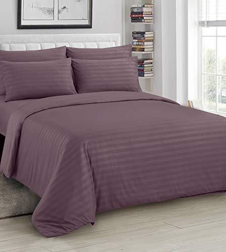 Ausumm Satin Stripe Duvet Cover with Pillow Cases Quilt Bedding Set Mauve Purple Plum, King