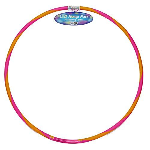 alldoro 63033 Hoop Fun - Aro de 60 cm de diámetro con 9 Luces LED, para Deportes, Fitness y Gimnasia, para niños a Partir de 4 años y Adultos, Color Rosa y Naranja
