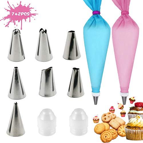 Happylohas 7+2pcs Teiliges Spritztüllen Set, Silikon Spritzbeutel, Cupcake Dekoration Backset, Kuchen und Plätzchen Dekoration, Backzubehör DIY Kuchen Dekorationsset. (A01)