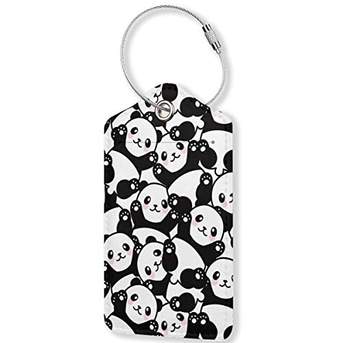 Cute Panda Luggage Tags,PU Leather Name ID Labels with Privacy Cover for Travel Baggage Bag Suitcase(1pcs)