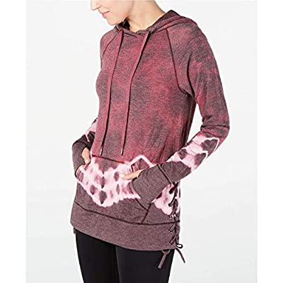 Ideology Tie-Dyed Lace-Up Hoodie, Red Passion, X-Small