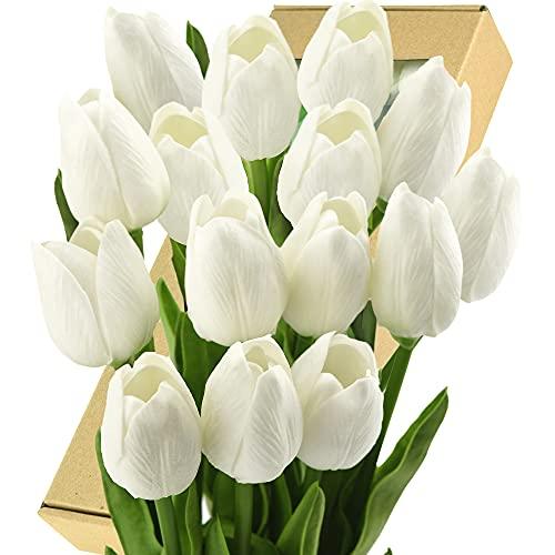 FiveSeasonStuff Tulipani artificiali realistici al tatto, bouquet di nozze, decorazione per la casa, feste, composizioni floreali, 15 steli Bianco allegro.