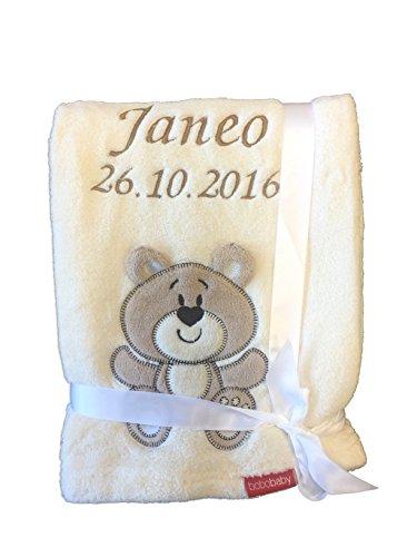 Babydecke bestickt mit Name und Geburtsdatum/kuschelig weich / 1A Qualität (Beige - BÄR)