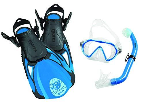 Mares Sea Friends Schnorchelset für Kinder mit Rucksack (blau, M/L (27-31))