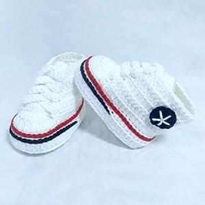 Patucos para Bebé Recién Nacido tipo Converse, 0-3 meses Blanco. Handmade. Crochet. España