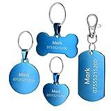 BKDZ Etiquetas de identificación de Mascotas de Acero Inoxidable Etiquetas de Perro Personalizadas Personalizadas Grabado Frontal/Posterior para Gato y Perro con (S, Corazon Azul)