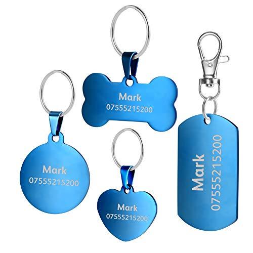 BKDZ Etiquetas de identificación de Mascotas de Acero Inoxidable Etiquetas de Perro Personalizadas Personalizadas Grabado Frontal/Posterior para Gato y Perro con (L, Hueso Azul)