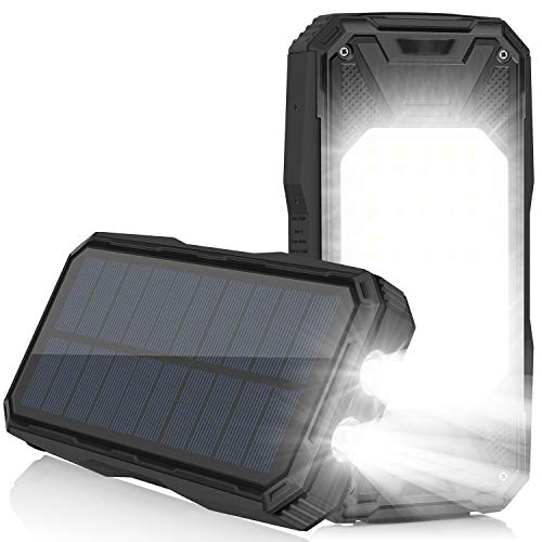 Solar Charger 26800mAh, Portable Solar Power Bank USB C PD 18W Fast Charger with Ultra Bright 2...