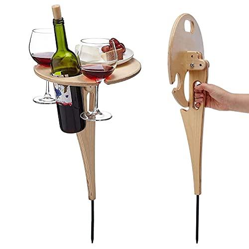 2021 Nuovo tavolo da vino da esterno - Tavolino da picnic rotondo in legno pieghevole con portabottiglie, tavolino da caffè portatile tavolino da giardino, veranda, balcone, cortile