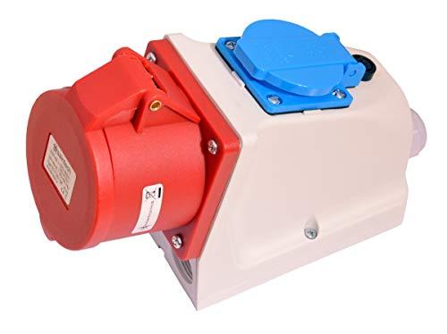 91750 CEE Kupplung Wandsteckdose 32A 400V IP44 5 polig +Schukosteckdose mit Sicherung Starkstrom