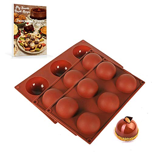 YAONIEO 6-Cavity Semi Sphere Chocolate Mold, 3 Pcs Half Sphere Silicone Baking Molds, Silicone Ball Molds for Chocolate Bomb Candy Cake Baking Dome Mousse Soap