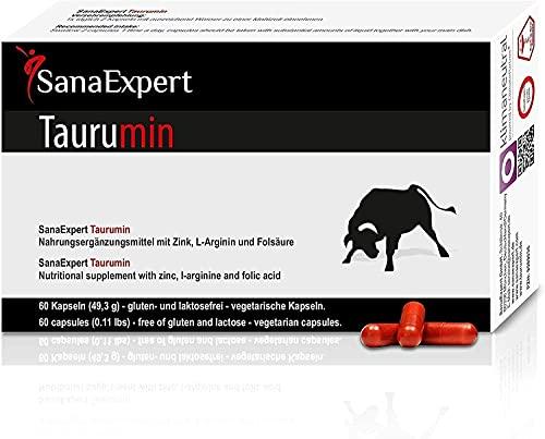 SanaExpert Taurumin | AZIONE RAPIDA E POTENTE | L-Arginina, Acido alfa lipoico, Zinco, Acido folico, Fertilità per l'uomo (60 capsule). Ingredienti 100% naturali. Prodotto in Germania.