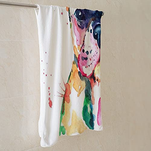 Bath Blanket Towels Frenchie French Bulldog Original Watercolor Of Dog Funny Happy for Yoga Blanket Sweat Towel Picnic Mat Gym Backpacking Outdoors Sports Camping Hiking Travel swimming pool bath Bea