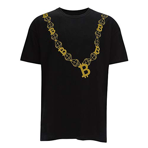 Cointelegraph Bitcoin Chain Crypto T-Shirt Unisex | Cryptocurrency Blockchain (X-Large, Black-Gold)