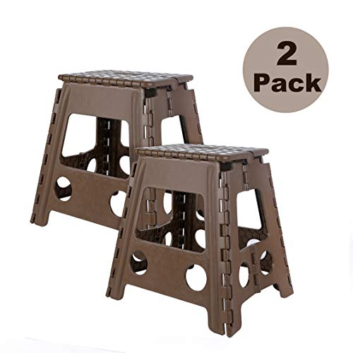 TOLEAD 2 Pack Folding Step Stool for Adults, Plastic Foot Stool for Seniors, Foldable Stepping Stool 15.4 Inch Height, Holds up to 400lbs, Brown