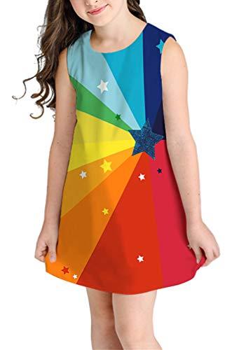 Ocean Plus Niña Verano Casual Vendimia Vestidos Sin Mangas Flamenco Patrón Lindo Impreso Rodilla Larga Gatito Tramo Partido Dress (M (Altura: 145-155 cm), Estrellas Arcoiris)