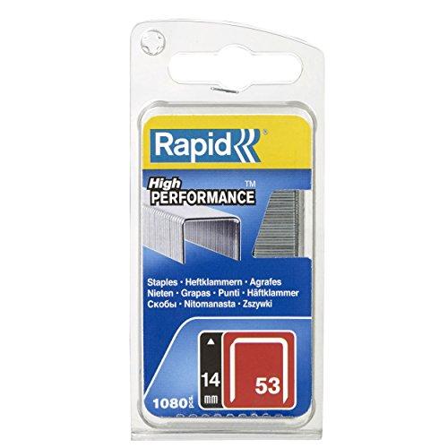 Rapid Tackerklammern Typ 53, 14mm Klammern, 1.080 Stk., Feindrahtklammern für Holz und Stoffe