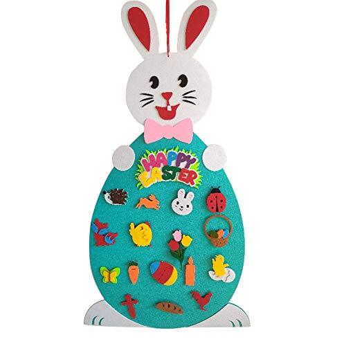 LAMF Pasqua fai da te in feltro decorazione coniglietto fai da te in feltro con frutti, animali, uova di Pasqua, ornamenti per bambini, regali di Pasqua, decorazione da parete per la porta della casa