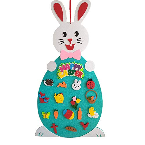 Wnvivi Easter Bunny Decoration, Felt Rabbit, DIY Felt Rabbit Set with Detachable Ornaments, Easter Wall Hanging Games for Home Door Wall Decoration