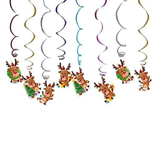 Lindo colgante de Navidad en forma de remolino Colgante de techo Serpentinas espirales coloridas Colgante Tarjeta de alce Colgante Remolinos Decoraciones para fiestas de Navidad Accesorios de dis