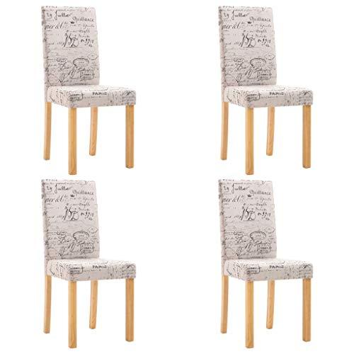 vidaXL 4X Sillas de Comedor Poliéster Mobiliario Decoración Muebles Interior Casa Hogar Diseño Estético Ergonómico Duraderas Máximo Confort Crema