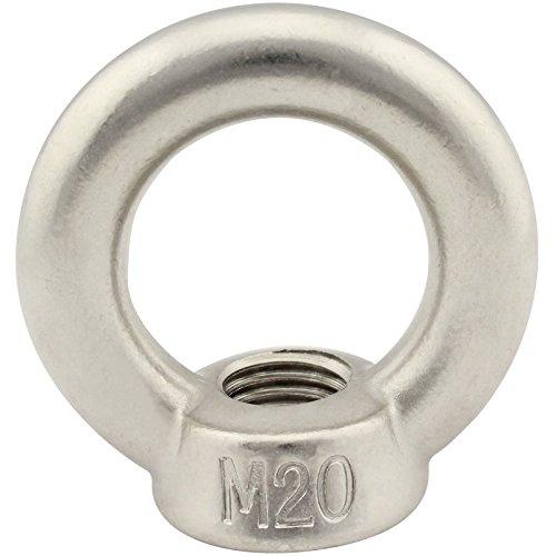 Ringmutter (gegossen und poliert) - M20 - (1 Stück) - ähnl. DIN 582 - aus rostfreiem Edelstahl A2 (V2A) - Ösenmutter SC582 | SC-Normteile®