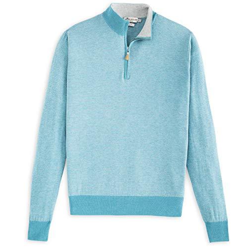 PETER MILLAR Crown Soft Striped Cotton and Silk Quarter-Zip Sweater (XXL, Fishtrap)