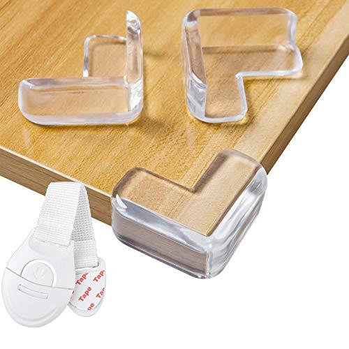 Niviy 20pcs Protector Esquinas Bebes para Niños con 1 Cerradura de Cajón Seguridad Guardias de la Esquina de Muebles, Mesas (Grande - ángulo Recto)