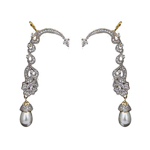 SURYAGEMS Earrings 14K Gold Plated Beautifully Embellished with Pear Shining White Cubic Zircon with Pearl Drop Ear Cuffs Fashion Jewellery for Indian Wedding for Girls and Women