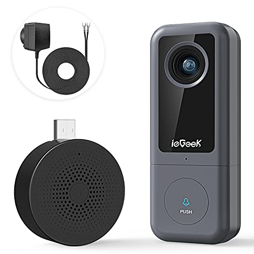 Video-Doorbell-Camera, ieGeek 2K Wireless Camera Doorbell with Chime, Motion Detector, 2.4G WiFi, 2-Way Audio, Night Version, SD/Cloud Storage, 167° Wide Angle, Waterproof, Easy Installation(Wired)