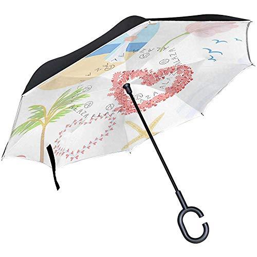 mengmeng Reverse Umbrella, Strandhochzeit Inverted Night Reflective Edge Golfschirme, Double Layered Canopy