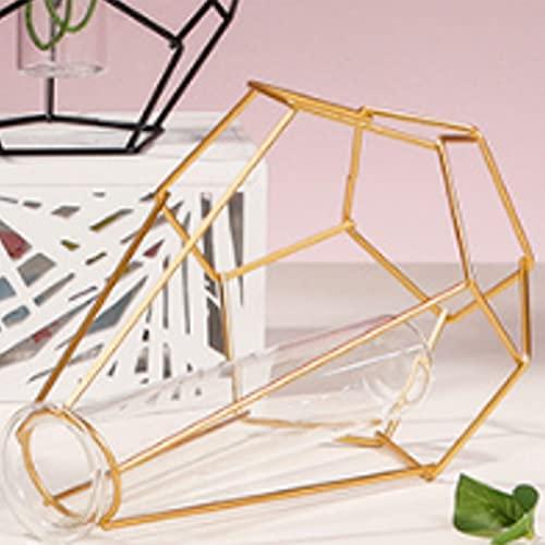 Vaso hidropónico de tubo de ensayo de vidrio de hierro, jarrón geométrico de hierro, jarrón de tubo de ensayo con marco de metal, soporte para propagación de plantas hidropónicas, florero pequeño