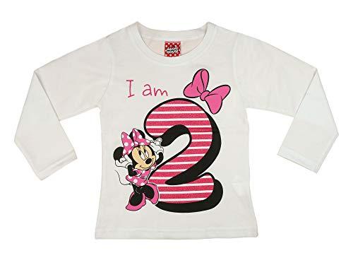 Mädchen Baby Kinder zweiter Geburtstag T-Shirt 2 Jahre Baumwolle Birthday Outfit GRÖSSE 92 98 Minnie Mouse Disney Design Glitzer Weiss oder Rosa Babyshirt Oberteil Farbe Weiss, Größe 92
