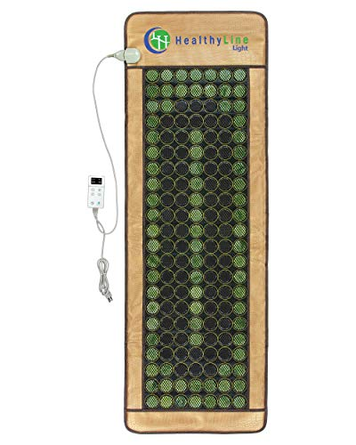 """HealthyLine 3-in-1 Mesh Infrared Heating Pad - Full Body Effective Pain Relief - Flexible Mat, Adjustable Time - 154 of Jade Tourmaline Stone - 72"""" x 24"""""""