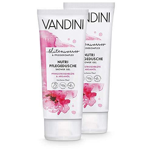 VANDINI Nutri Pflege Duschgel Damen mit Pfingstrosenblüte & Arganöl - Duschgel für trockene Haut - veganes Duschgel für Frauen ohne Silikone, Parabene & Mineralöl im 2er Pack (2x 200 ml)