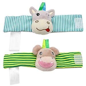 ZHANGNUO Sonajero para Bebé Juguetes Sonajero De Muñeca Y Calcetines De Pie Animal Cute Cartoon Baby Socks Sonajero Toys Amarillo