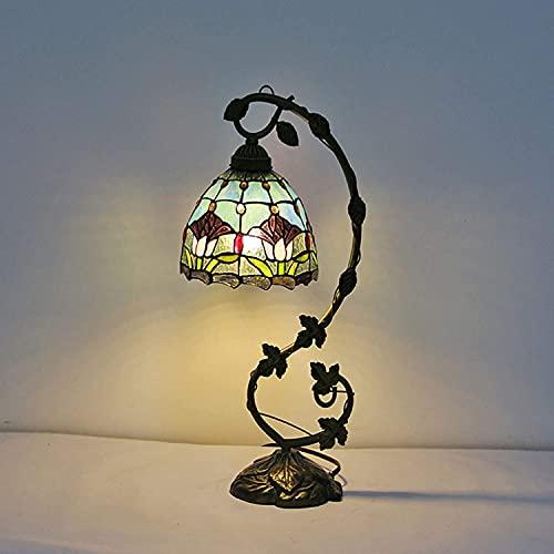 Lámparas de mesita de noche estilo tiffany, lámpara de mesa de vidrio pastoral, lámpara de mesa de resina, lámpara de escritorio de la base para el dormitorio de hotel, iluminación, decoración, regalo