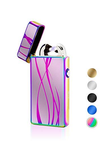TESLA Lighter TESLA Lighter T08 Motiv Linien Regenbogen Lichtbogen Feuerzeug USB Aufladbar Elektro Sturmfest Plasma Doppel-Lichtbogen mit Akku Regenbogen