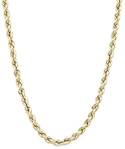 10k Yellow Gold Hollow Rope Chain Necklace with Lobster Claw Clasp for Women and Men  2mm