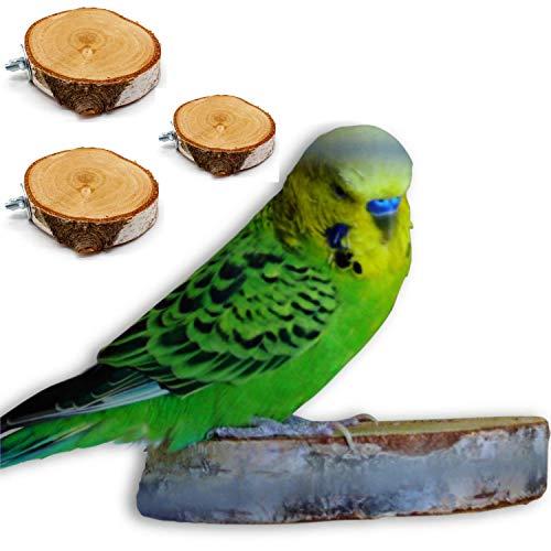Natur Pur im Vogelkäfig: 3er Pack Sitzbretter aus Birke für Wellensittich, Nymphensittich, Agaporniden und Co.