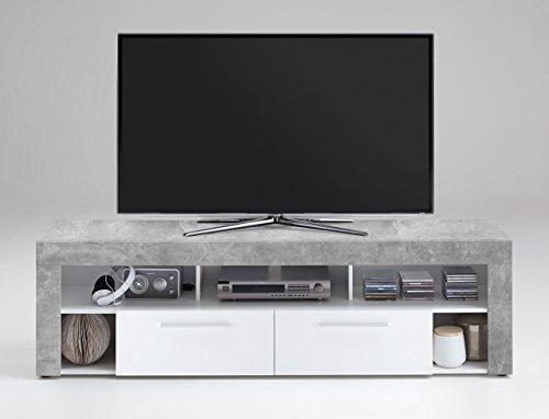 lifestyle4living TV-Lowboard TV-Board Multimedia Lowboard, Medienschrank, Fernsehregal, TV-Unterschrank, in Beton-Dekor, 5 Fächer, 2 Schubkästen, 180/53/41,5 cm