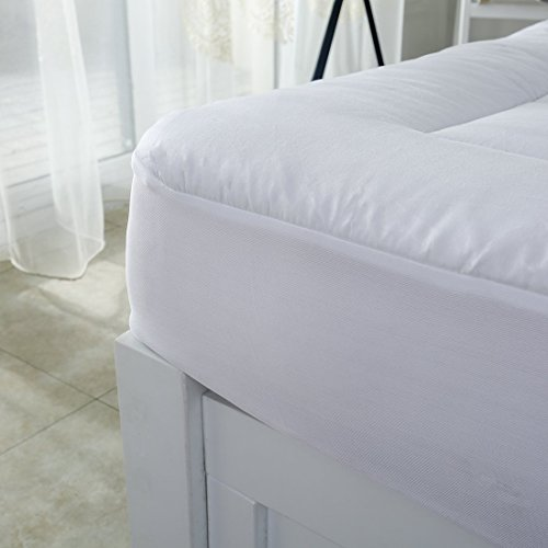 """oaskys Cal King Mattress Pad Cover Cooling Mattress Topper Cotton Top Pillow Top with Down Alternative Fill (8-21""""Fitted Deep Pocket California King Size)"""