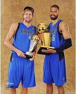 Dallas Mavericks - Tyson Chandler & Dirk Nowitzki with the MVP & Championship Trophies Glossy Photograph