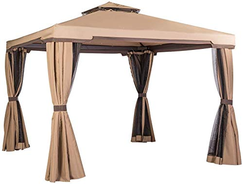 Patiomore Outdoor Garden Gazebo 10 x 10 FT Patios All-Season Permanent Gazebo with Vented Soft Canopy and Mosquito Netting