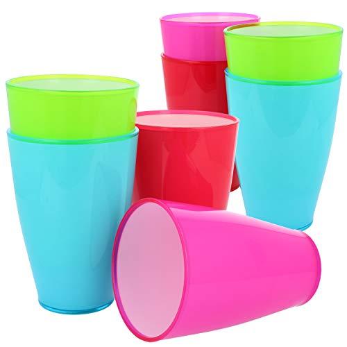 COM-FOUR® 8x herbruikbare drinkbekers van plastic - plastic bekers in verschillende kleuren - breukvaste herbruikbare drinkbekers voor feest en kamperen [selectie varieert]