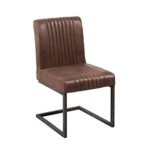 Riess Ambiente Freischwinger Stuhl Big Aston Vintage braun Microfaser Bezug Esszimmer Stuhl braun gebürstetes Eisengestell