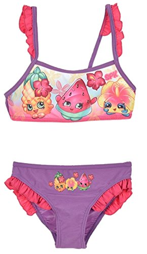 Shopkins Mädchen Schwimmen Kostüm / 2 Stück Bikini. (5 Jahre (110 cm), Violett)