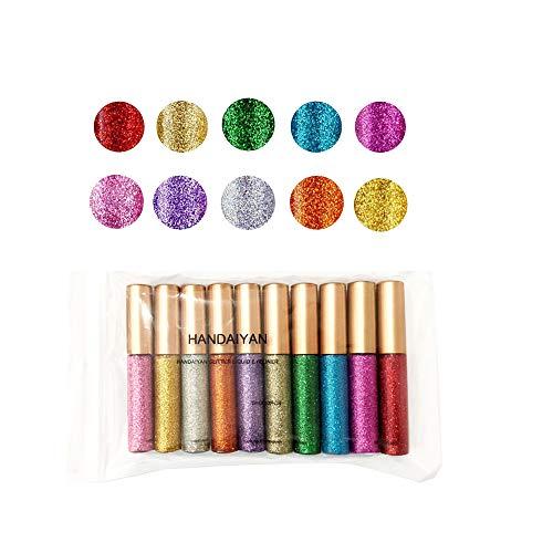 Metallic Glitter Eyeliner, Fulltime 10pc Maquillage Waterproof Eye-Liner Miroitement Liquide Eyeliner