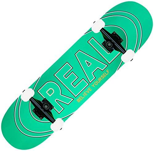 78,7 cm Skateboards 7-lagiges Ahornholz Double Kick Concave Cruiser Trick Skateboard Komplettes Skateboard Pro Komplettes Tanzbrett für Anfänger Kinder Teenager Grün Real